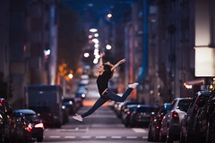 Ballerina in the Streets (Bastian.K) Tags: portrait city ballerina ballett balett tänzer tänzerin woman women frau girl tanz dance stuttgart lights bokeh canon ef 200mm 20 l is usm metabones adapter highiso high iso sport sports street