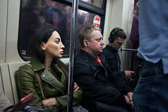 In the Blue (Ktoine) Tags: street metro moscow moscou russia profile candid brunette arms crossed commute commuting train people crowd