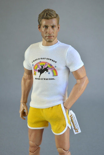 "1/6 scale T-shirt inspired by Jake Gyllenhaal ""I Was a Gay Cowboy Before It Was Cool"" and yellow shorts available in our online shop - Model: 12 inch World Box durable collectible figure"