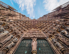 Strasbourg cathedral (Karsten Gieselmann) Tags: 714mmf28 architektur blau braun em5markii farbe fassade hdr kathedrale mzuiko microfourthirds olympus reise sakralbauten architecture blue brown cathedral color facade front kgiesel m43 mft travel strasburg groserosten