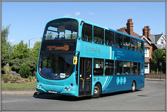 Arriva Midlands 4001 (Jason 87030) Tags: volvo arriva midlands x84 blue livery swoosh doubledecker roundabout rugby shoot shot may session wrightbus eclipse gemini shades color colour buses transport leicester roadside sunny weather