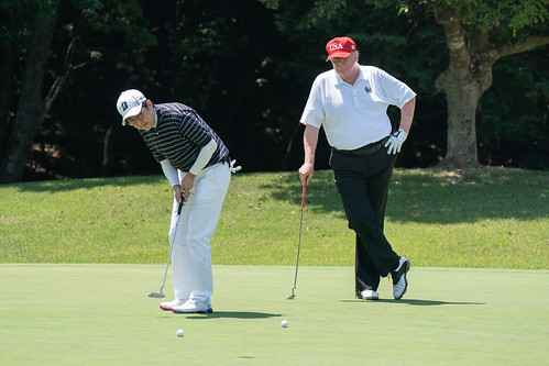 President Trump and Prime Minister Abe Golfing. Well, they are now both gone., From FlickrPhotos