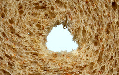 a hole in the bread (HansHolt) Tags: bread brood hole gat crosssection doorsnede slice plak cut gesneden structure macro canon 6d 100mm canoneos6d canonef100mmf28macrousm macromondays superstition hmm