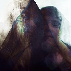 Imprint II (missemorris) Tags: twins mirror veil blackveil mesh tulle experimental gothic self selfportrait lowfi light shadow