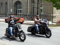 Two tough looking dudes riding their Harley Davidsons down King Street in Brockville, Ontario (Ullysses) Tags: harleydavidson bikers motorcycles brockville ontario canada spring printemps