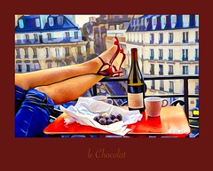 le Chocolat (WayneToTheMax) Tags: wine chocolate balcony leg jeans france rail cup red shoes heel relax evening color