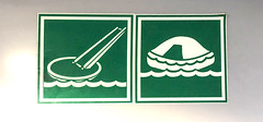 Do Not Serve Ramen or Pie on the High Seas (ruthlesscrab) Tags: seabus sign werehere wah hereios green pictogram