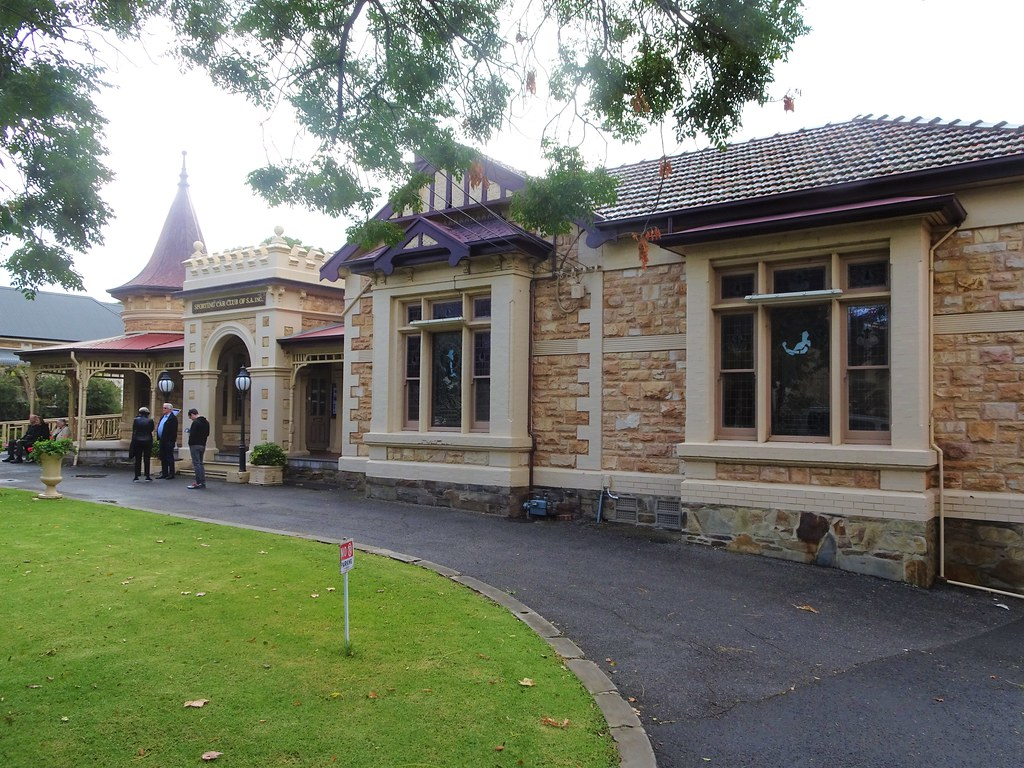 Wayville Adelaide. Mawson House built in Queen Anne style in 1911 with round corner tower and spire. Entrance porch with turrets. Built for George Branson a chaff miller from Freeling.