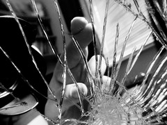 Good Luck Bad Luck (Andy Sut) Tags: macromondays superstition macro brokenmirror crossedfingers luck fortune closeup shattered hand fingers andysutton hmm blackandwhite monochrome bw lumix panasonic