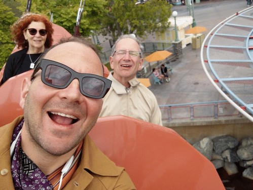 Me, Dad and Mom selfie animation, California Zephyr,  Pixar Pier, California Adventure, Disneyland, Anaheim, California, USA