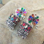 Floral Patterned Stone-Studded MultiColor Oxidised Earring thumbnail