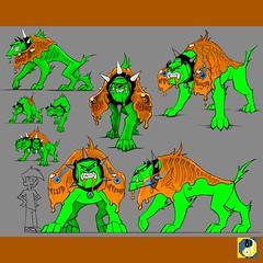 Globs of Doom -  Ghost Dog Boss (hinxlinx) Tags: gameconcept conceptart bossart creatureart creatureconcept thq nickelodeon nicktoons spongebob squarepants globsofdoom dannyphantom cerberus ghostdog threeheadeddog morphoid aliengoo hinxlinx ericlynxlin elynx