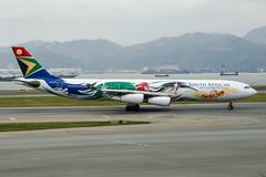 ZS-SXD (PlanePixNase) Tags: hkg vhhh hongkong cheplapkok airport aircraft planespotting southafrican airbus a340300 340 a343 teamsouthafrica2012