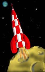 fusée lunaire (klaxodessin) Tags: dessin drawing tablette tabletcomputer touchpad digital fusée spacerocket rocket lune moon espace space étoile stars étoiles tintin