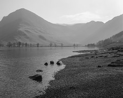 Buttermere, mid morning (Jonathan Woods Photography) Tags: ebony sv45te large format film ilford delta 100 5x4 lake district landscape buttermere water trees mountain
