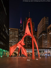 Flamingo (20190526-DSC03981) (Michael.Lee.Pics.NYC) Tags: chicago alexandercalder flamingo sculpture publicart willistower architecture cityscape sony a7rm2 laowa12mmf28 magicshiftconverter shiftlens night longexposure