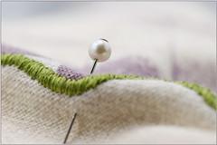 Macro Mondays..Superstition (Sue Armsby) Tags: macromondays macro superstition pin cushion pearl dof blur bokeh cream purple green intriguing armsbysue