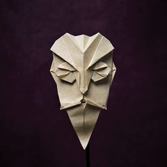 Mask - Old bearded man (pierreyvesgallard) Tags: origami mask old man face portrait beard mustache paper papercraft