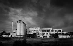 Derelict (paullangton) Tags: mono bw hertfordshire welwyn wheat derelict old clouds storm monochrome landscape contrast silo canon skancheli