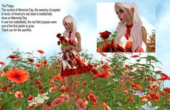 Poppies (sunny.hanly) Tags: secondlife sl virtualworld game fashion originals art outfit clothes dress gem gems hair long blond aviglam choker maitreya lara photography peace avatar digitalart digitalphotography mesh bento laq gaia sunnysstudio deaddollz poppies memorialday