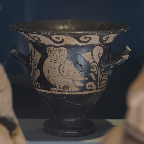 Campanian Red Figure bell krater representing an owl, from the votive deposit at Stabiae, loc. Privati