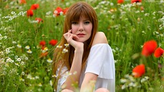 In the poppies (BIG format!!) (marcomariamarcolini) Tags: lady green grass red beauty young beautiful italy girl italian nikon nikkor reflex digital colorful color cute romantic daylight backlight backlit hair posing sensual lipstick hairdress heels park town milan city people garden meadow wow redhair redhairedgirl natural shadows holidays redhead erba rosso portrait ritratto closeup primopiano face body eyes marcomariamarcolini poppies daisies poppy daisy giada nikonz7