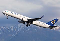P4-FAS Air Astana B752 (twomphotos) Tags: plane spotting ala uaaa air astana boeing b752 bestofspotting departure rwy05r sunset mountain tian shan liftoff eventing