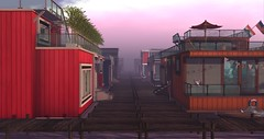 Early Morning Fog in Isthill, Bellisseria (Sivyaleah (Elora)) Tags: second life sl virtual bellisseria continent linden lab fog houseboat house boat windlass barnacle wallover sea water morning early