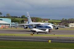 Little and large. (TF102A) Tags: prestwick prestwickairport aviation aircraft airplane usaf usairforce douglas dakota c47 dc3 an124