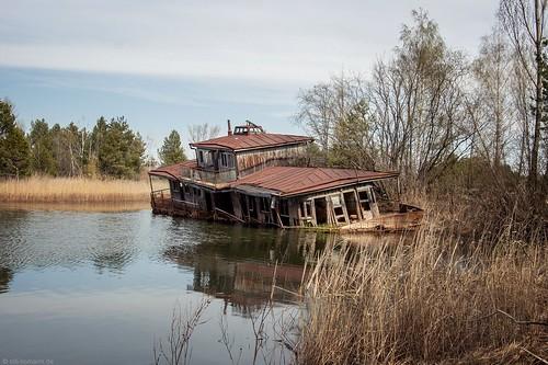 sunken boat, Prypjat.