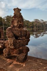 Angkor Thom – South Gate (Thomas Mülchi) Tags: angkor siemreap cambodia 2018 siemreapprovince angkorthom southgate moat bridge gate statues gods deamons naga snake serpentsevenheaded krongsiemreap