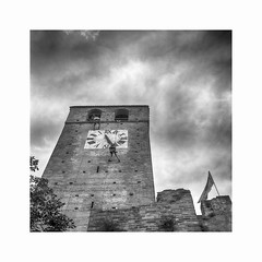 The towers climbers (Italian Film Photography) Tags: tower clock stones sky clouds climbers ropes city architecture flag medieval cielo nuvole torre orologio pietra scalatori corde bandiera persone events blackandwhite blackwhite biancoenero bn bw tlr minolta autocordlmx fujifilm neopanacros film analogue pellicola analogica square mediumformat6x6 medioformato traditional silver argentique 120