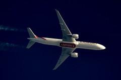 Emirates Airlines Boeing 777 A6-ENE (stephenjones6) Tags: jet aircraft aviation airlines boeing b777 b77731her blue sky skywatcher telescope dobsonian d3200 nikon emirates a6ene civil contrail chemtrail ott extremespotting msn35603 uae unitedarabemirates vapour vapourtrail