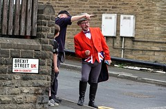 Brexit Street (Simon W. Photography) Tags: greatbritain brexit europe unitedkingdom uk gb eu england english britain british sign signs logo text writing poster innuendo irony funny fun humour humor satire viral street candid streetphotography streetphoto streetphotographer photography streetstyle urban path people person mature man men male gentlemen gentleman uniform glasses spectacles red white blue unionjack unionflag hat