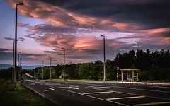 Time For Driving (NickLesta) Tags: magyarorszag hungary road drive sunset sunsetcolors cloud purplesky busstop bus sign