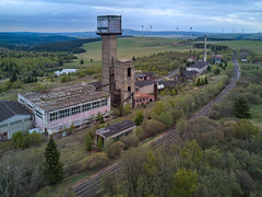 abandoned mine (jkatanowski) Tags: urbex urban exploration europe outdoor building industry industrial drone clouds sky decay derelict decaying old tracks