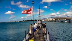 Pearl Harbor: Aboard the USS Bowfin Submarine (lhboudreau) Tags: ussbowfin submarine bowfin ww2 wwii worldwar2 worldwarii navy usnavy unitedstatesnavy hawaii pearlharborhawaii pearlharbor water bridge secondworldwar sky outdoor outdoors people deck flag harbor honolulu honoluluhawaii cloud fordislandbridge
