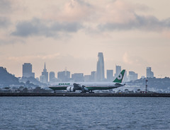 one of 3 eva air daily arrivals from taipei (pbo31) Tags: bayarea california nikon d810 color may 2019 boury pbo31 memorialday holiday sanfranciscointernational sfo airport aviation plane travel burlingame airline flight sunset sky sanmateocounty skyline salesforce boeing 777 evaair landing runway arriving