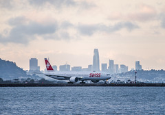 swiss air's second daily departure to zurich (pbo31) Tags: bayarea california nikon d810 color may 2019 boury pbo31 memorialday holiday sanfranciscointernational sfo airport aviation plane travel burlingame airline flight sunset sky sanmateocounty skyline salesforce boeing 777 taxi swissair departure