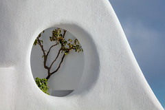 Santorini Window (josullivan.59) Tags: 2019 agean artistic europe greece greek may santorini thira abstract architecture cyclades evening goldenhour island islands light minimalism shadows telephoto texture travel trees wall wallpaper white tamron150600 outside outdoor day detail greekislands nicelight