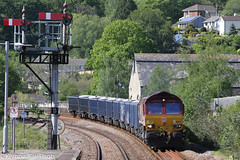 Sand and Semaphores (Kernow Rail Phots) Tags: lostwithiel kernow cornwall class66 66127 sand train trains railways railroad railway sunny semaphore signals signal 6c12 1028 burngullow ecc exeter riverside ny freight wagons bluewagons wednesday 22nd may 2019 2000s 2252019 shed db cargo dbc buildings trees
