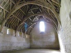 Bradford on Avon 14C Tithe Barn with Blue Cross 4. (lens refraction?) (johnpaddy22) Tags: 14thcentury tithebarn bradfordonavon
