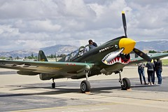 Collings Foundation 1944 Curtis P-40 Warhawk N293FR c/n 2133 at Livermore Airport 2019. (17crossfeed) Tags: warhawk p40 p51 b17 b24 b25 livermoreairport lvk n293fr 2133 airport aviation airplane aircraft flying flight pilot planes planespotting pitts claytoneddy 17crossfeed airshow boeing northamerican curtiss ww2 landing tower taxi takeoff