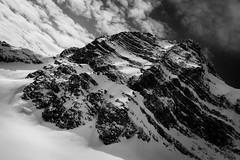Mountaintop (ellieupson) Tags: rockies mountains canmore alberta monochrome blackandwhite aerial contrast clouds landscape mountain snow rock