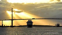 Sunset and the QE2 Bridge (© Freddie) Tags: riverthames thames kent greenhithe qe2 dartfordcrossing seabournovation liner cruiseliner sunset fjroll ©freddie crepuscularrays
