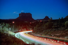 (patrickjoust) Tags: fujica gw690 cinestill 800t 6x9 medium format 120 rangefinder 90mm f35 fujinon lens c41 color negative film tungsten balanced cable release tripod long exposure night after dark manual focus analog mechanical patrick joust patrickjoust sedona arizona az southwest united states north america estados unidos usa us rural red rock country desert butte bluff star trail light streak stream highway brush trees park