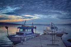 Back to home after fishing (malioli) Tags: boat port sky clouds fishing adriatic sea croatia canon
