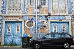 Street in Lisbon (Alexis Bross) Tags: portugal lisbon blue car street azulejos