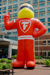 "Firestone ""Firehawk Man"" (mrgraphic2) Tags: indianapolis indiana rx100 firestone firehawkman funny orange brand"