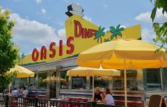 OASIS DINER (mrgraphic2) Tags: rx100 oasis diner plainfield indiana sign neon yellow seats roof